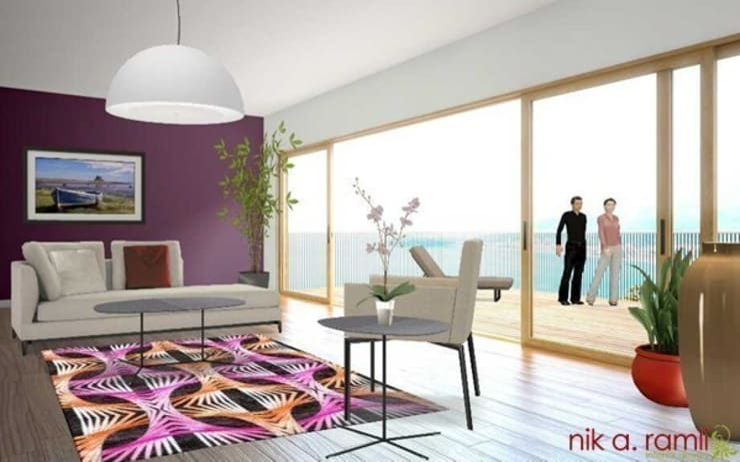 Modern Living Room:  Living room by Nik A Ramli Interior Design