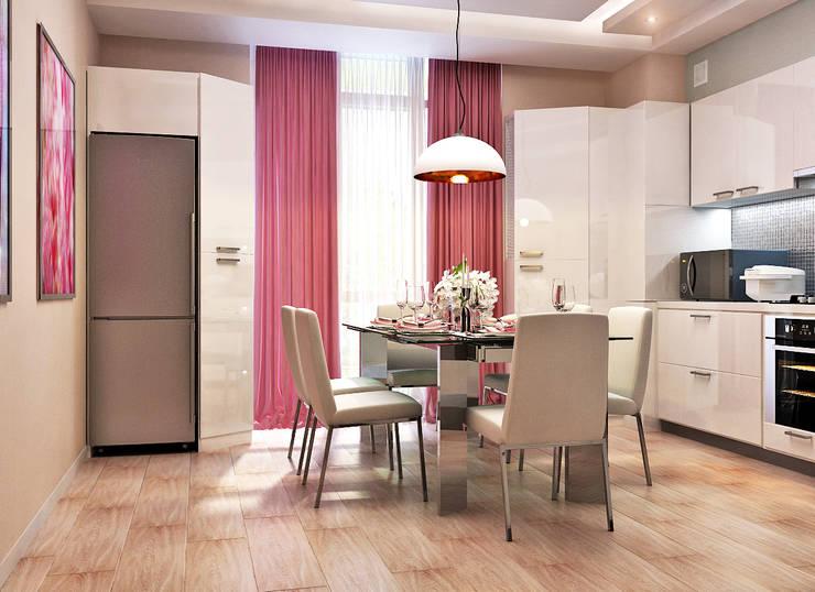Элегантная и модная кухня с зеркальным фартуком + лаконичная прихожая: Кухни в . Автор – Студия дизайна Interior Design IDEAS