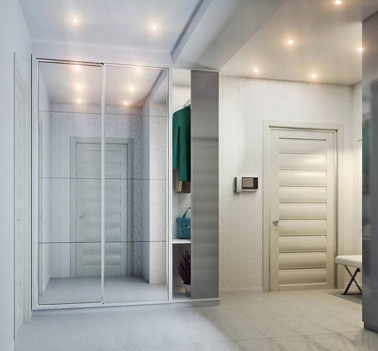 Элегантная и модная кухня с зеркальным фартуком + лаконичная прихожая: Коридор и прихожая в . Автор – Студия дизайна Interior Design IDEAS