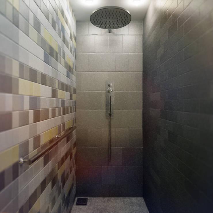 Projekt Wnętrza: Łazienka Żółto-niebieska: styl , w kategorii Łazienka zaprojektowany przez Akuratnie