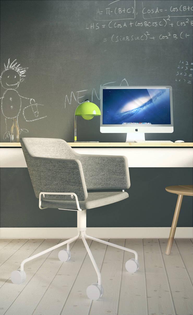Projekt Wnętrza:  Mieszkanie Młodego Architekta: styl , w kategorii Domowe biuro i gabinet zaprojektowany przez Akuratnie