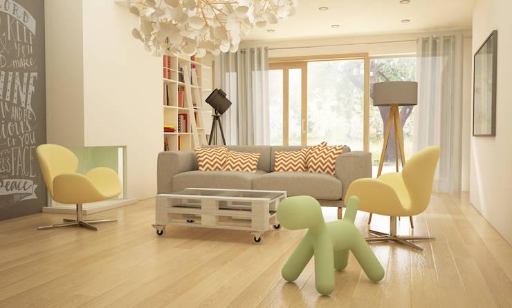 Projekt Wnętrza:  Salon 1: styl , w kategorii Salon zaprojektowany przez Akuratnie,Skandynawski