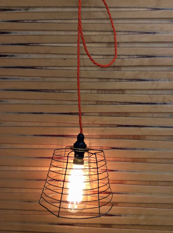 Up-cycled wire pendant light:  Household by Rural Retro