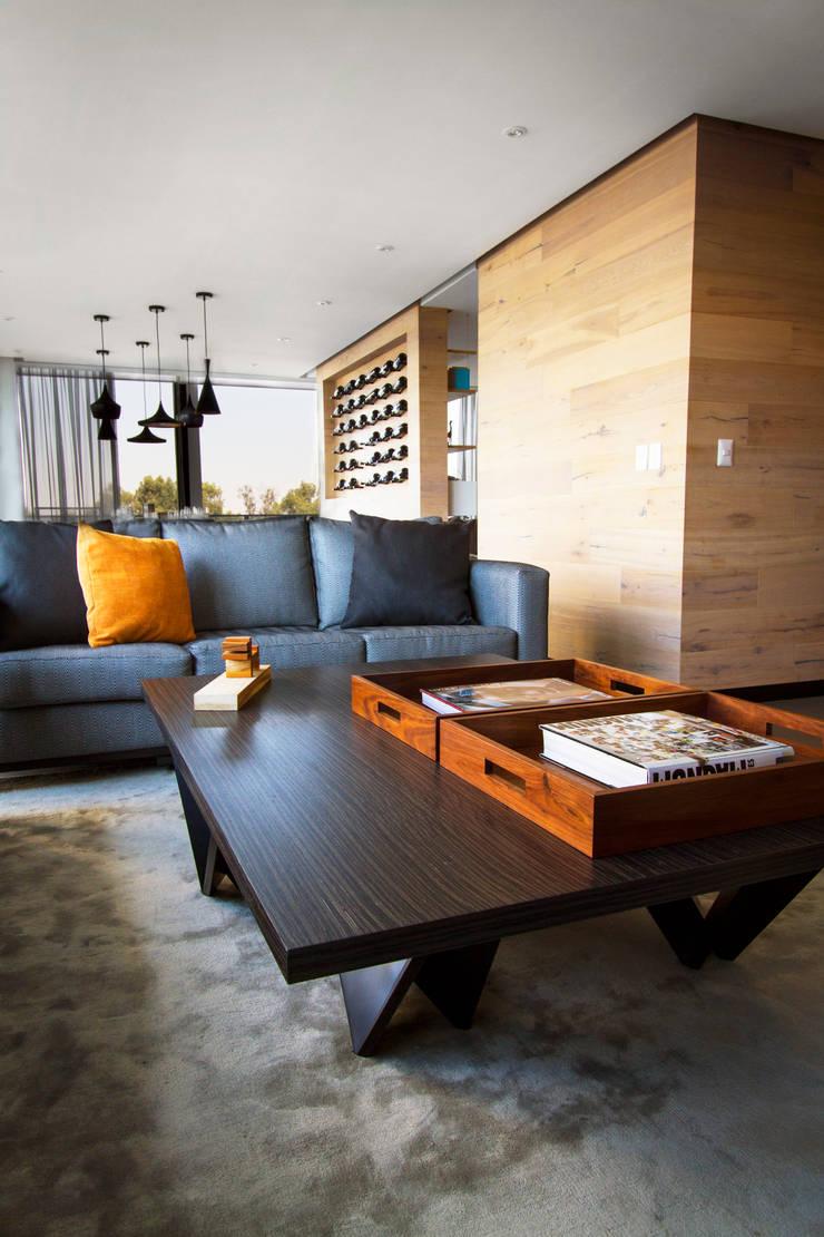 Departamento D-CH: Salas de estilo  por Concepto Taller de Arquitectura