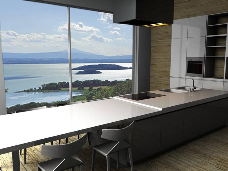 Cucina con vista Lago Trasimeno di Elena Valenti Studio Design | homify