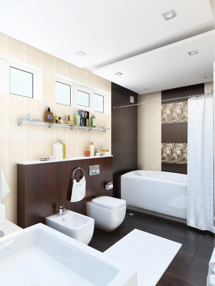 Уединение от пресыщения: Ванные комнаты в . Автор – Дизайн студия Александра Скирды ВЕРСАЛЬПРОЕКТ
