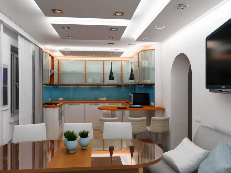 Ночь: Столовые комнаты в . Автор – Дизайн студия Александра Скирды ВЕРСАЛЬПРОЕКТ