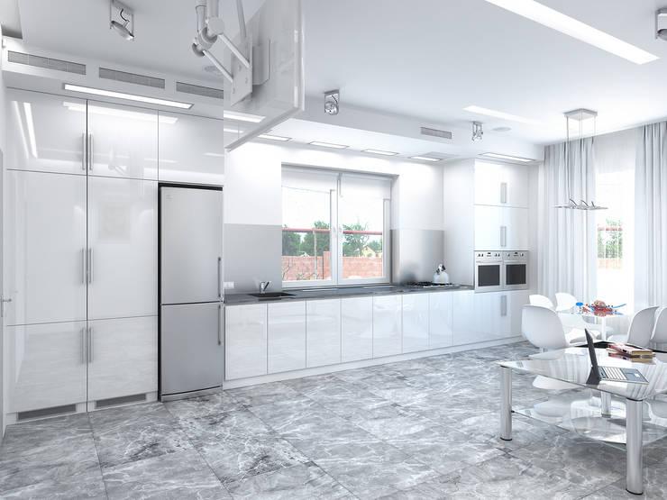 Чистота : Кухни в . Автор – Дизайн студия Александра Скирды ВЕРСАЛЬПРОЕКТ