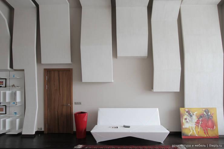 Фрагмент стены с диваном: Рабочие кабинеты в . Автор – Ply, Минимализм