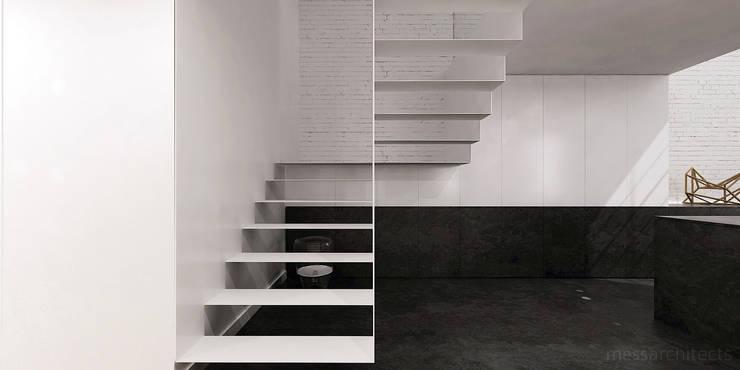 High - Contrast Loft : styl , w kategorii Korytarz, przedpokój zaprojektowany przez Mess Architects