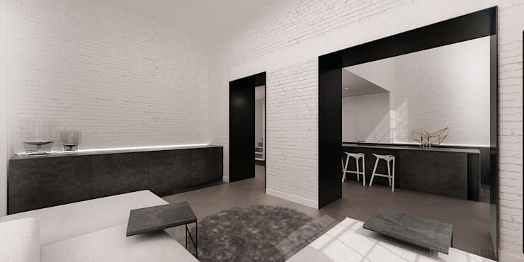 High - Contrast Loft : styl , w kategorii Salon zaprojektowany przez Mess Architects