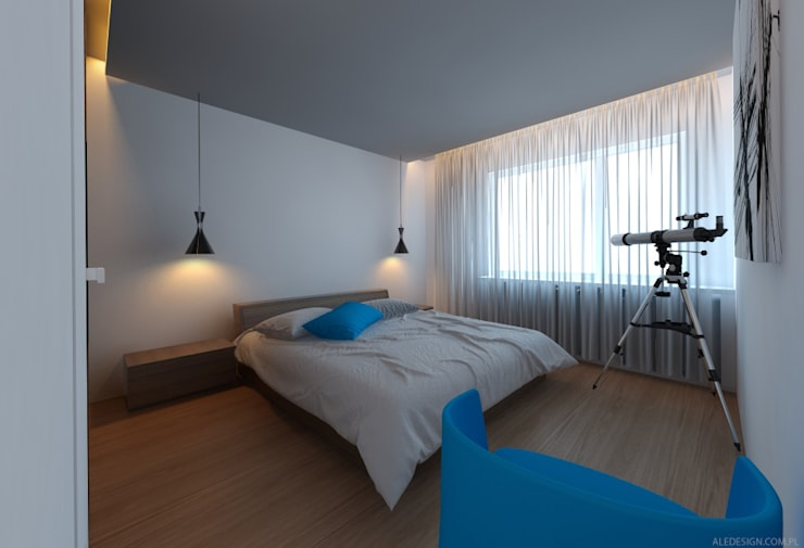 Sypialnia w błękicie : styl , w kategorii Sypialnia zaprojektowany przez Ale design Grzegorz Grzywacz