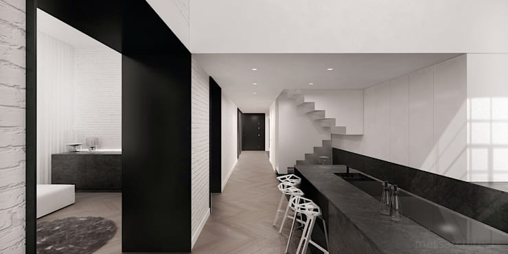 minimalistic Kitchen by Mess Architects