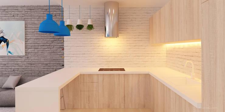 Pokój dzienny z kuchnią w gradiencie: styl , w kategorii Kuchnia zaprojektowany przez Ale design Grzegorz Grzywacz