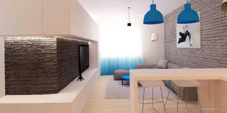 Pokój dzienny z kuchnią w gradiencie: styl , w kategorii Salon zaprojektowany przez Ale design Grzegorz Grzywacz