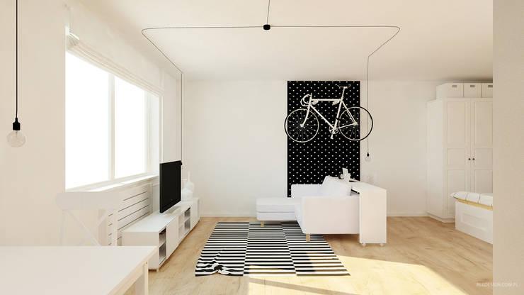 Kawalerka 24m2 w Katowicach do wynajęcia - wersja czarno-biała: styl , w kategorii Sypialnia zaprojektowany przez Ale design Grzegorz Grzywacz