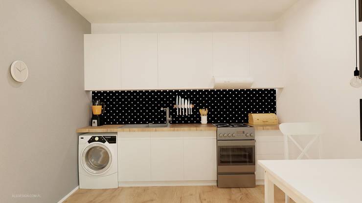 Kawalerka 24m2 w Katowicach do wynajęcia - wersja czarno-biała: styl , w kategorii Kuchnia zaprojektowany przez Ale design Grzegorz Grzywacz