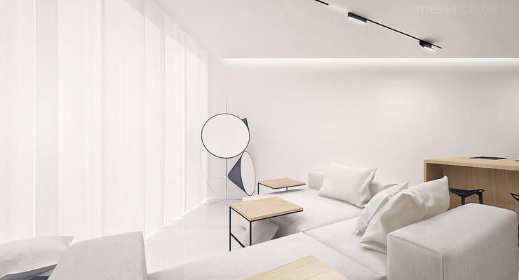 The Wall: styl , w kategorii Salon zaprojektowany przez Mess Architects