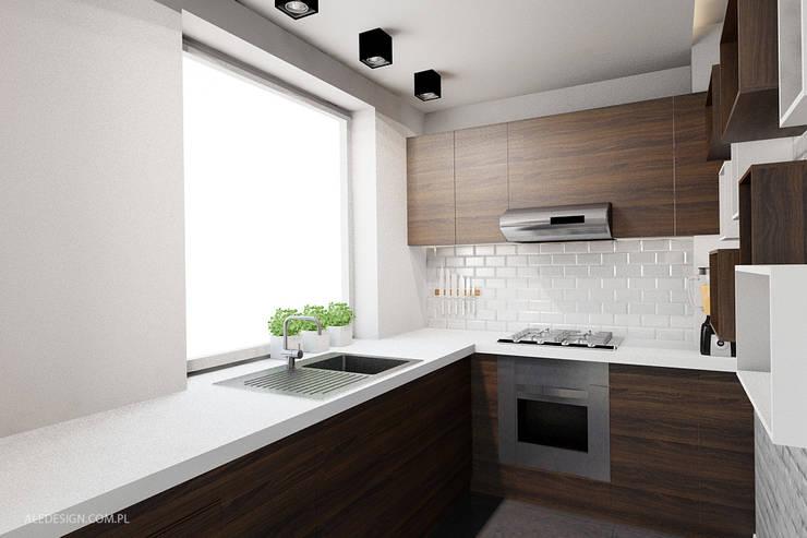 Projekt mieszkania 55m2 w Dąbrowie Górniczej: styl , w kategorii Kuchnia zaprojektowany przez Ale design Grzegorz Grzywacz