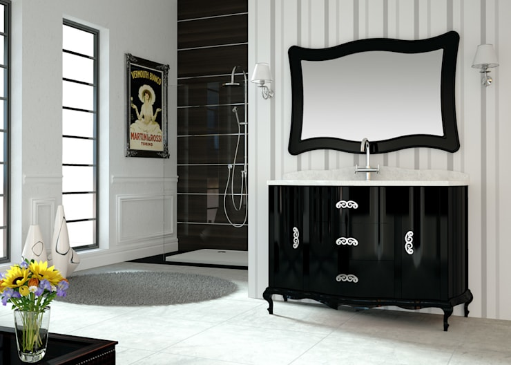 Mueble de baño Venezia 150 cms negro brillo: Baños de estilo clásico de Baños Online