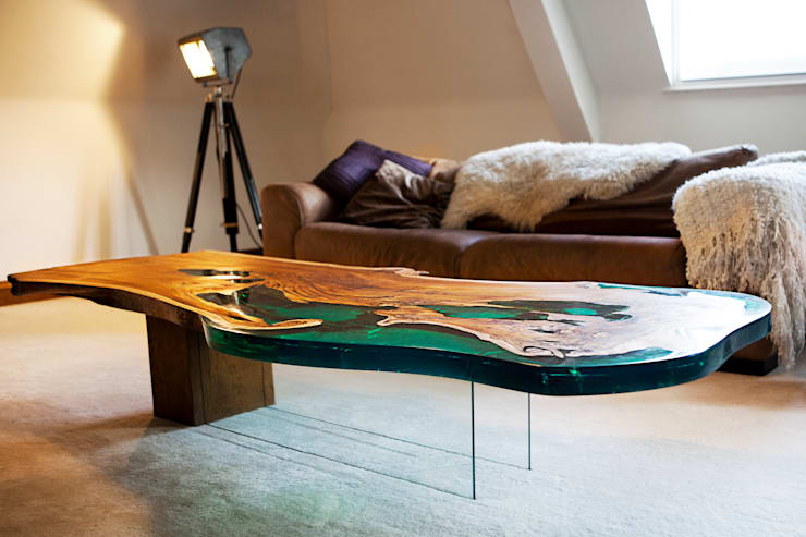 'Sea Horse' design coffee table side view:  Artwork by Neil Scott Furniture Limited