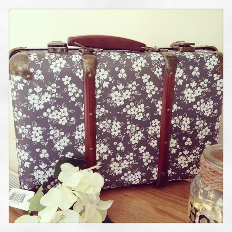 Beautiful Vintage Shabby Chic Suitcase - Colette Black & White Floral:  Bedroom by ihearthomes