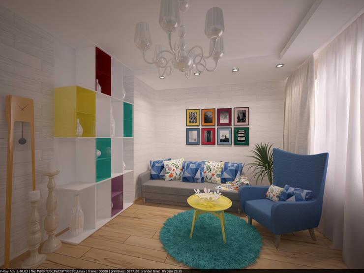 Квартира 45 кв.м. в Скандинавском стиле.: Гостиная в . Автор – Студия дизайна Виктории Силаевой, Скандинавский