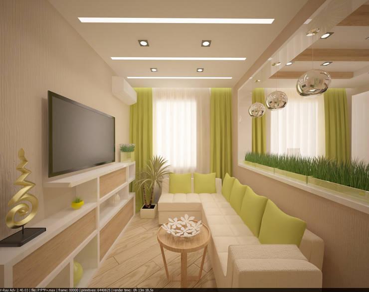 Квартира 70 кв.м. в ЖК <q>Оазис</q> : Гостиная в . Автор – Студия дизайна Виктории Силаевой