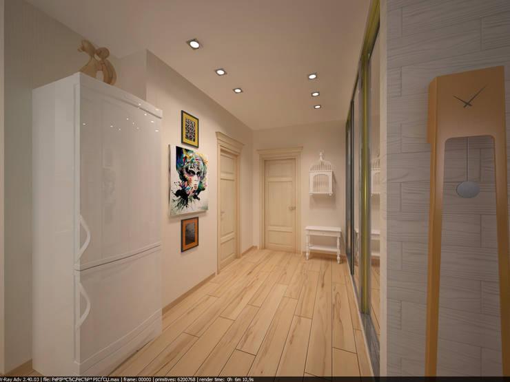 Квартира 45 кв.м. в Скандинавском стиле.: Коридор и прихожая в . Автор – Студия дизайна Виктории Силаевой, Скандинавский