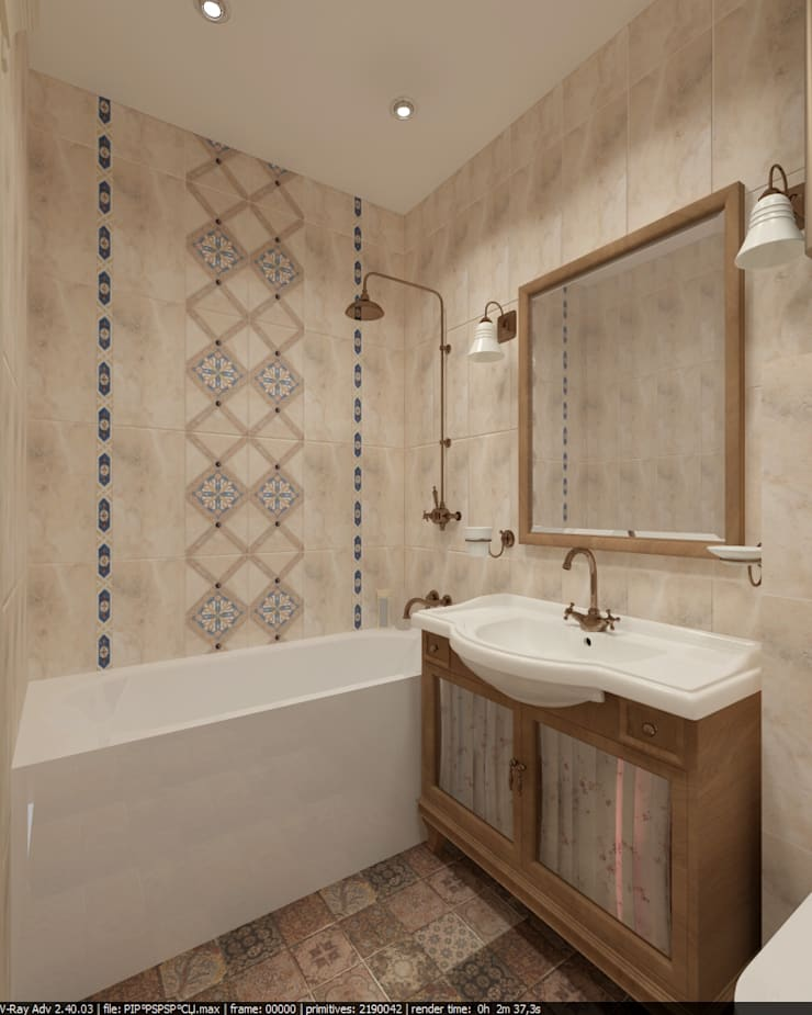 Квартира 45 кв.м. в Скандинавском стиле.: Ванные комнаты в . Автор – Студия дизайна Виктории Силаевой, Скандинавский