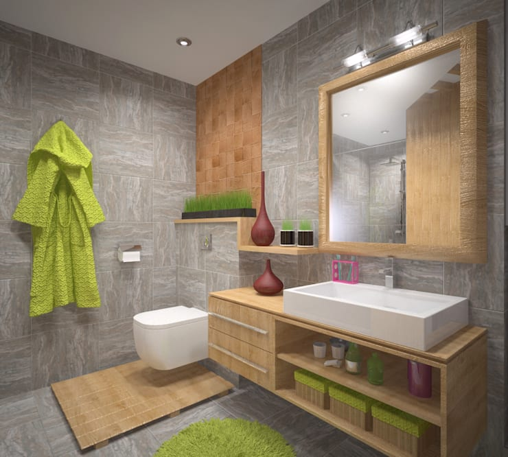 Сан. узел с сауной в экостиле: Ванные комнаты в . Автор – Студия дизайна Виктории Силаевой