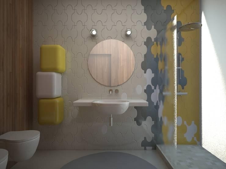 Большая ванная комната: Ванные комнаты в . Автор – 16dots