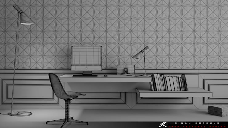 SK ARCHITECTURAL VISUALIZATION – 3D Duvar Panelleri (3D Wall Panels):  tarz Duvar & Zemin