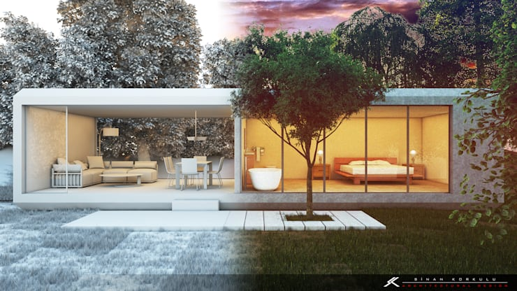 SK ARCHITECTURAL VISUALIZATION – Orman Evi (Forest House):  tarz Evler