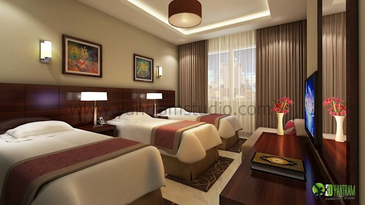 Kommerzielle 3D Hotels Bbedroom Interior Design:  Hotels by Architectural Design Studio