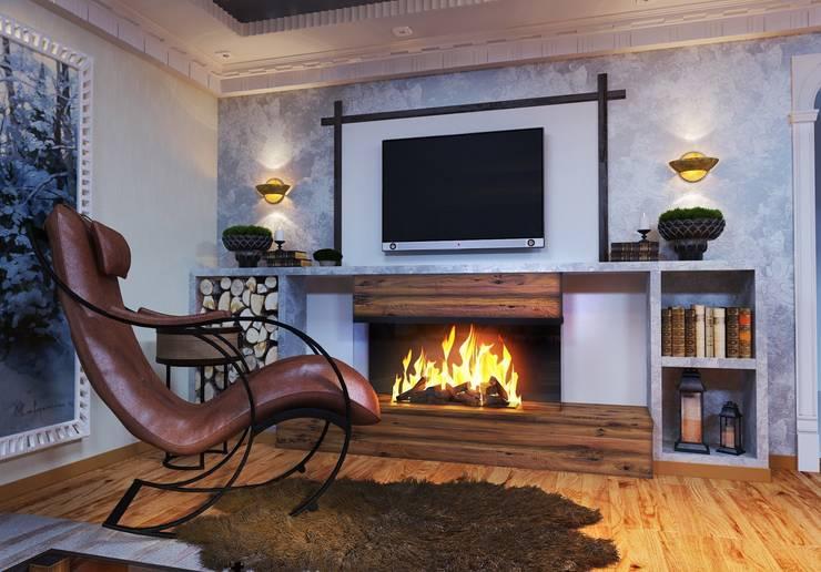 Гостиная в доме. Благородный <q>шале</q> с мужской душой: Гостиная в . Автор – Katerina Butenko