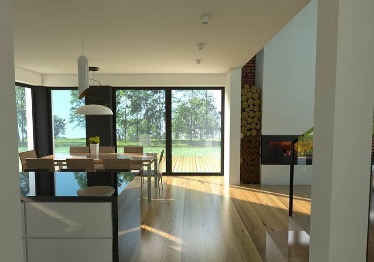 Dom w Mysłowicach : styl , w kategorii Jadalnia zaprojektowany przez AWX2 ARCHITEKCI,
