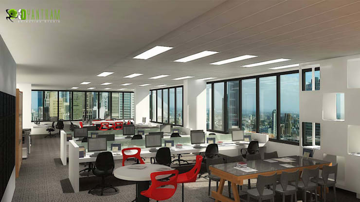 Commercial 3D Interior CGI Office:  Office spaces & stores  by Yantram Architectural Design Studio