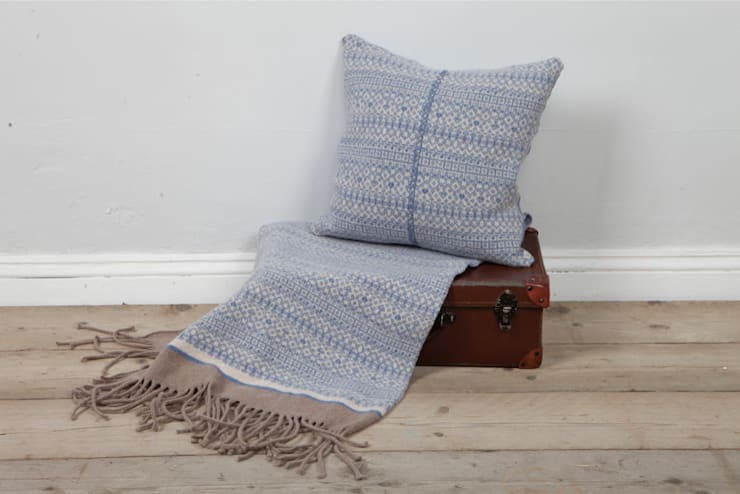 Soft blue/ linen 100% Lambs wool Cushion & Throw:  Household by Suzie Lee Knitwear