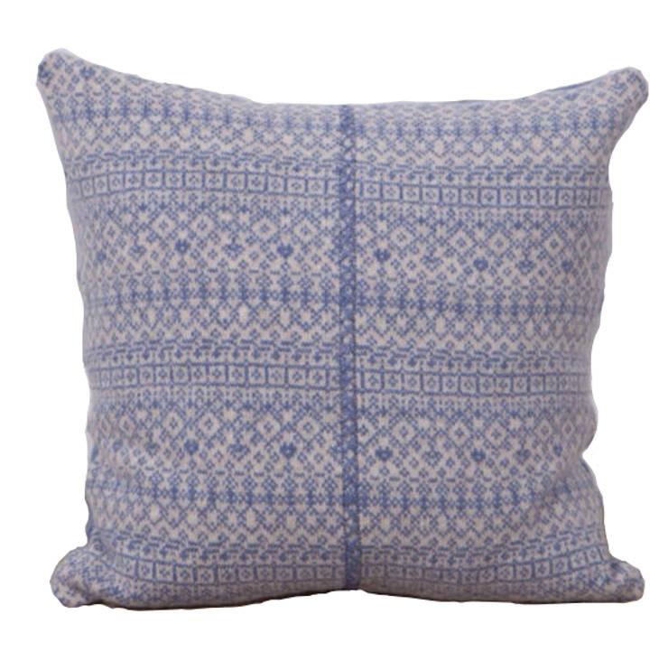 Soft blue/ linen 100% Lambs wool Cushion:  Household by Suzie Lee Knitwear