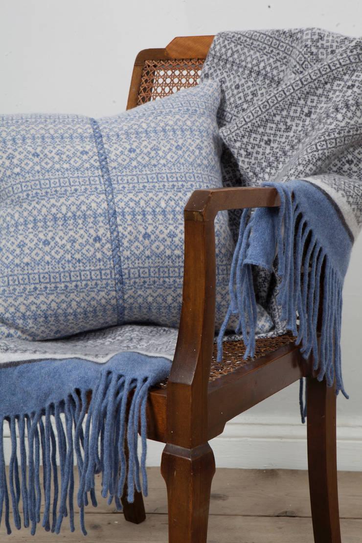 Soft blue/ linen 100% Lambs wool Cushion:  Living room by Suzie Lee Knitwear