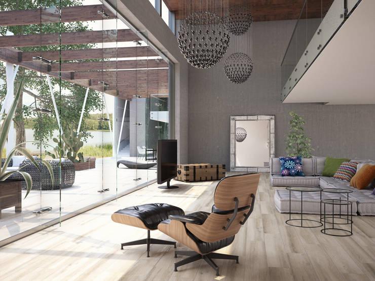 Casona Porcelánico imitación a madera: Salones de estilo  de INTERAZULEJO