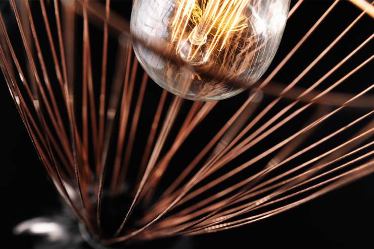 Cage of light, Suspension  en métal brut et plumes de coq: Maison de style  par Plumavera