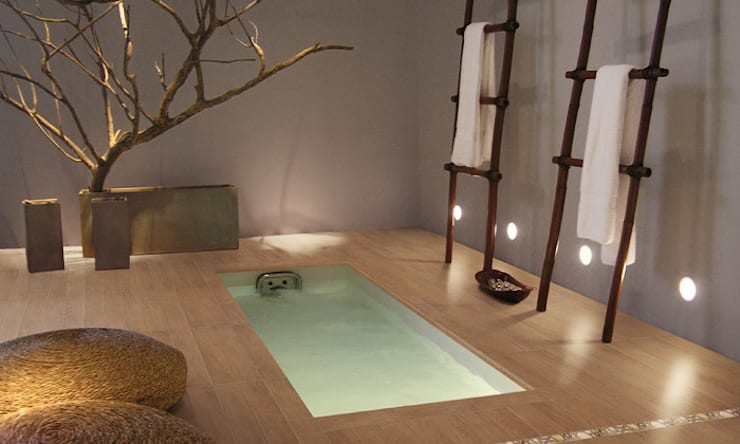 Lofty Porcelánico imitación a madera: Spa de estilo escandinavo de INTERAZULEJO