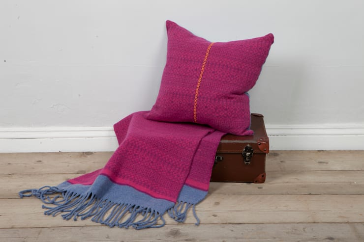 Knitted Fair Isle cushion with cross stitch:  Living room by Suzie Lee Knitwear