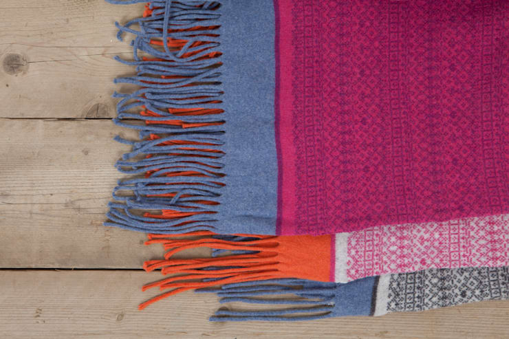 Knitted Fair Isle throw:  Household by Suzie Lee Knitwear