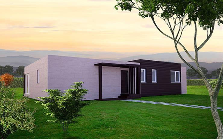 Fachada delantera de la Cube de 150 m2: Casas de estilo moderno de Casas Cube