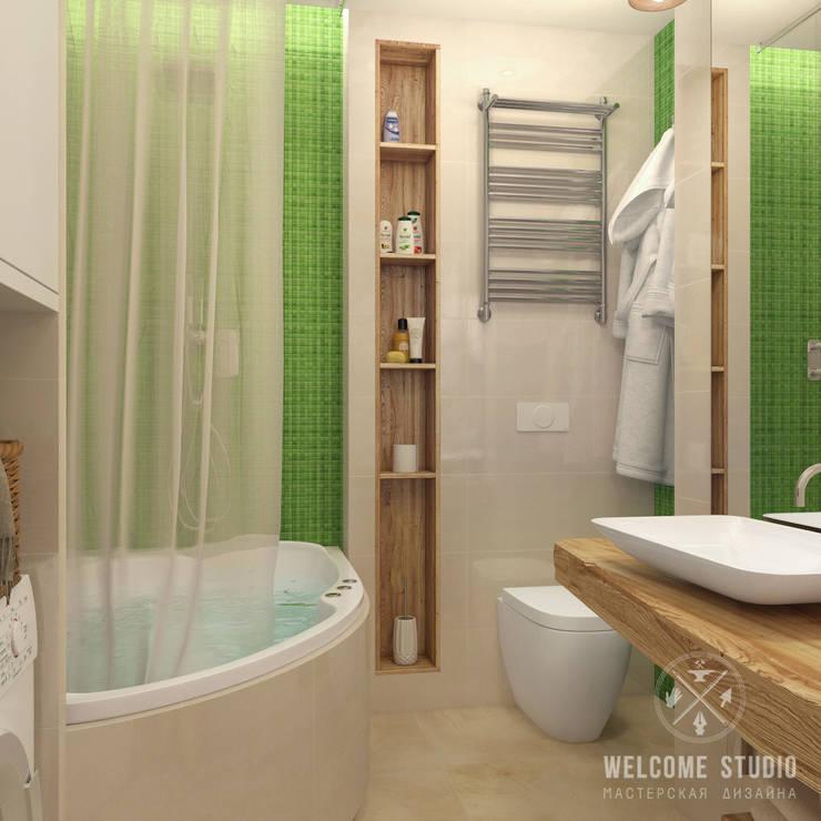 Ванная ракурс 1: Ванные комнаты в . Автор – Мастерская дизайна Welcome Studio, Минимализм