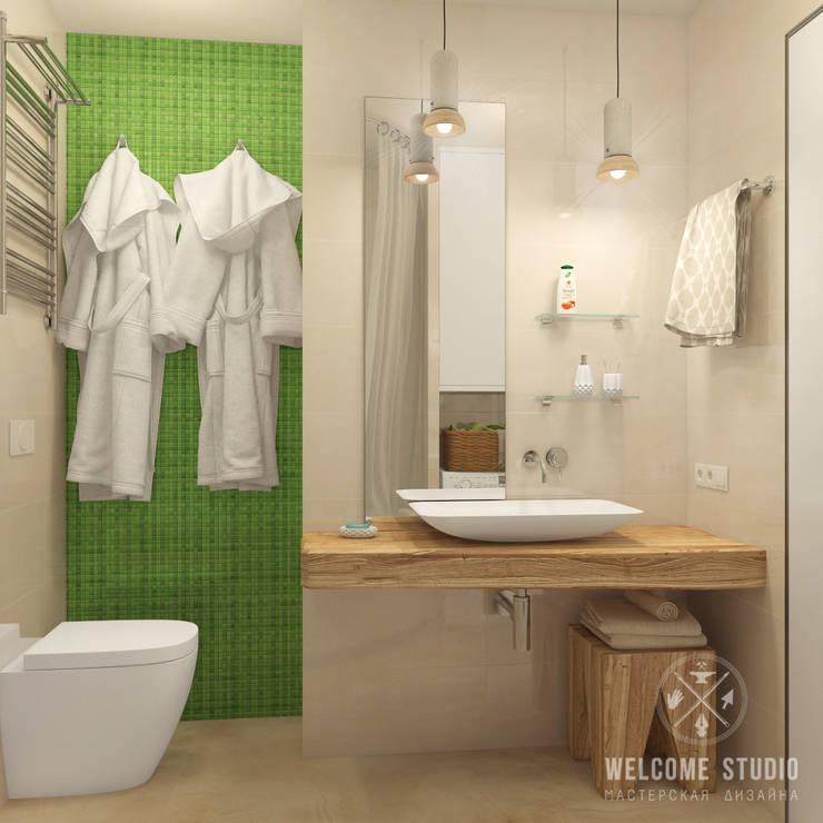 Ванная ракурс 2: Ванные комнаты в . Автор – Мастерская дизайна Welcome Studio, Минимализм