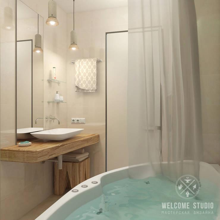 Ванная ракурс 4: Ванные комнаты в . Автор – Мастерская дизайна Welcome Studio, Минимализм